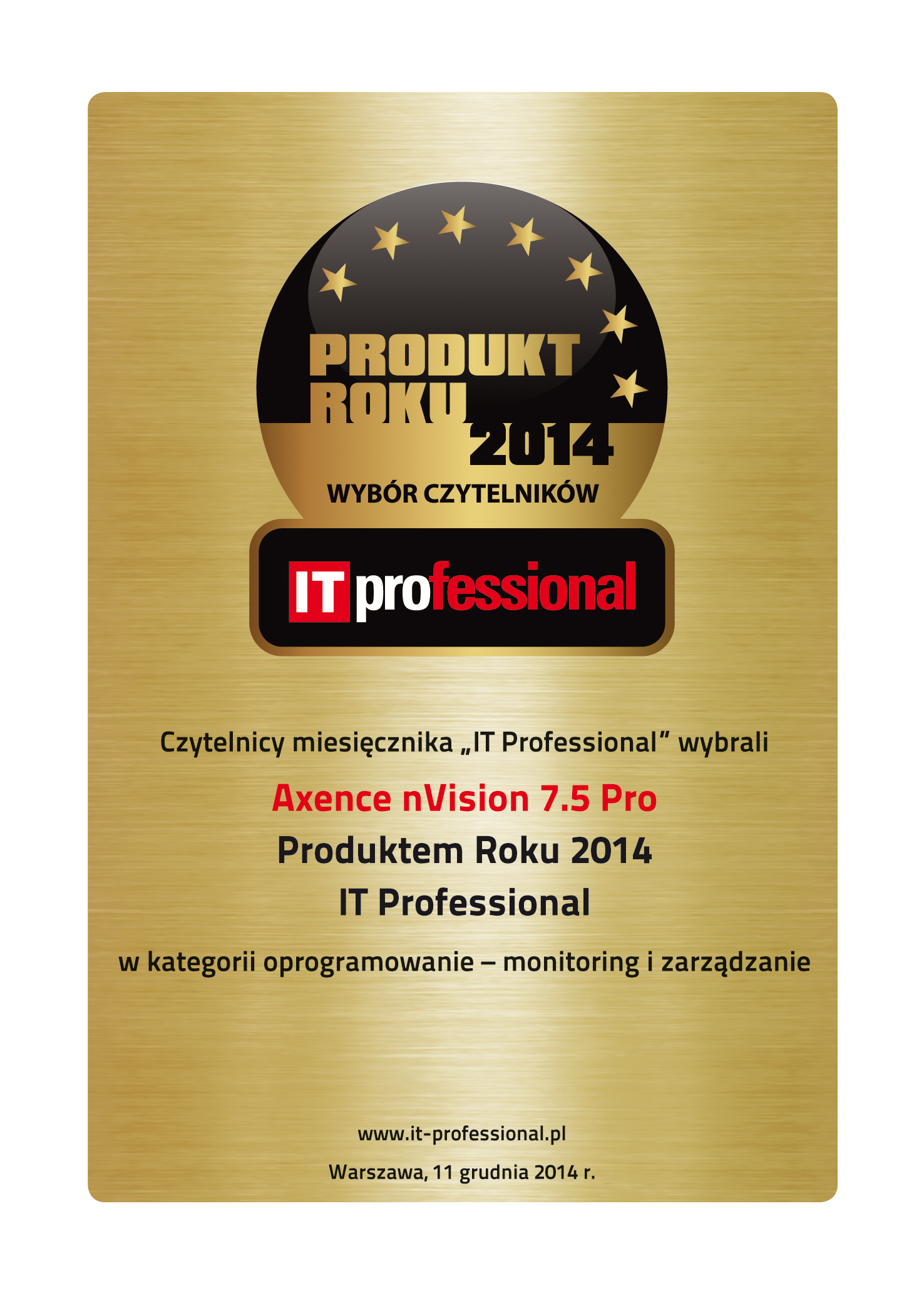 Produkt Roku 2014 - wybór Czytelników IT professional dla Axence nVision Pro